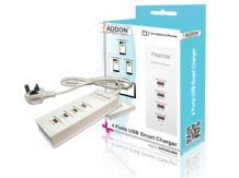Addon ADDSC400 4 Ports USB Smart Charger with UK Power Adapter